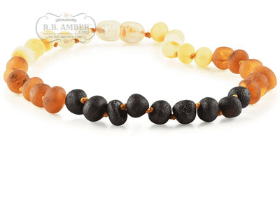 Baltic Amber Necklace for Children - Pop Clasp Teething Jewelry R.B. Amber Jewelry 10-11 inches Raw Rainbow