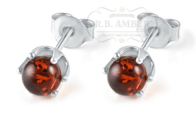 Baltic Amber Stud Earrings Jewelry R.B. Amber Jewelry Cognac