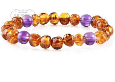 Baltic Amber/Gemstone Bracelet for Adults Jewelry R.B. Amber Jewelry Cognac Amethyst