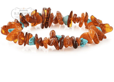 Baltic Amber/Gemstone Bracelet for Adults Jewelry R.B. Amber Jewelry Cognac Chip Turquoise