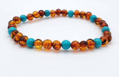 Baltic Amber/Gemstone Bracelet for Adults Jewelry R.B. Amber Jewelry Cognac Turquoise
