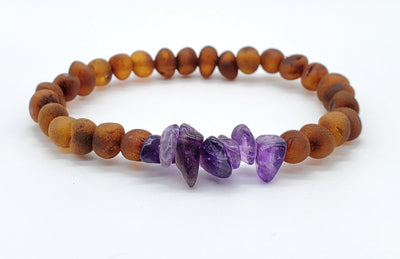 Baltic Amber/Gemstone Bracelet for Adults Jewelry R.B. Amber Jewelry Raw Cognac Amethyst Chip