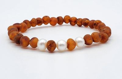Baltic Amber/Gemstone Bracelet for Adults Jewelry R.B. Amber Jewelry Raw Cognac Pearl