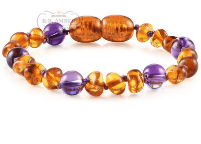 Baltic Amber/Gemstone Children's Bracelet Teething Jewelry R.B. Amber Jewelry Cognac Amethyst