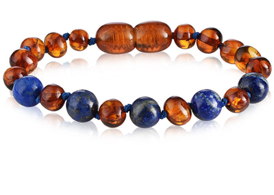 Baltic Amber/Gemstone Children's Bracelet Teething Jewelry R.B. Amber Jewelry Cognac Lapis Lazuli