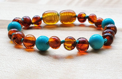 Baltic Amber/Gemstone Children's Bracelet Teething Jewelry R.B. Amber Jewelry Cognac Turquoise