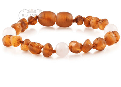 Baltic Amber/Gemstone Children's Bracelet Teething Jewelry R.B. Amber Jewelry Raw Cognac Rose Quartz