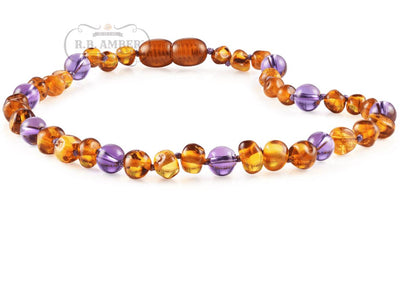 Baltic Amber/Gemstone Children's Necklace Teething Jewelry R.B. Amber Jewelry 10-11 inches Cognac Amethyst