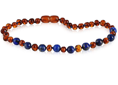 Baltic Amber/Gemstone Children's Necklace Teething Jewelry R.B. Amber Jewelry 10-11 inches Cognac Lapis Lazuli
