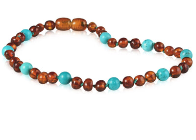 Baltic Amber/Gemstone Children's Necklace Teething Jewelry R.B. Amber Jewelry 10-11 inches Cognac Turquoise
