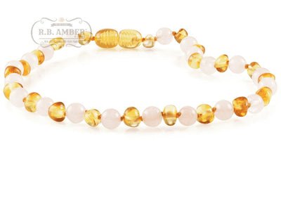 Baltic Amber/Gemstone Children's Necklace Teething Jewelry R.B. Amber Jewelry 10-11 inches Honey Rose Quartz