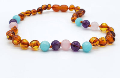 Baltic Amber/Gemstone Children's Necklace Teething Jewelry R.B. Amber Jewelry 10-11 inches Mermaid Mix