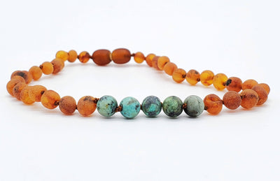 Baltic Amber/Gemstone Children's Necklace Teething Jewelry R.B. Amber Jewelry 10-11 inches Raw Cognac African Turquoise