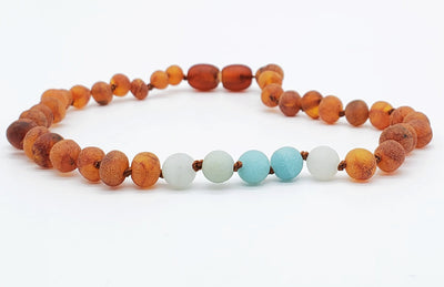 Baltic Amber/Gemstone Children's Necklace Teething Jewelry R.B. Amber Jewelry 10-11 inches Raw Cognac Amazonite