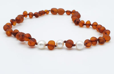 Baltic Amber/Gemstone Children's Necklace Teething Jewelry R.B. Amber Jewelry 10-11 inches Raw Cognac Pearl