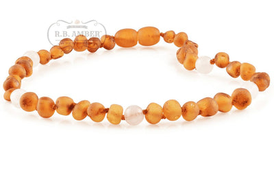 Baltic Amber/Gemstone Children's Necklace Teething Jewelry R.B. Amber Jewelry 10-11 inches Raw Cognac Rose Quartz