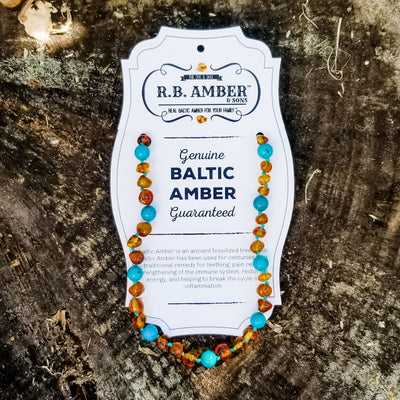 Baltic Amber/Gemstone Children's Necklace Teething Jewelry R.B. Amber Jewelry