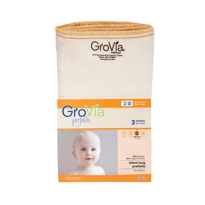 GroVia Bamboo Prefolds (3 pack) Cloth Diaper GroVia Size 3: Infant Long (15-25 lbs)