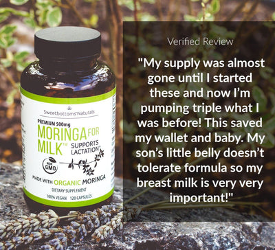 Organic Moringa for Milk™ Lactation Supplement - 120 Capsules Mom | Maternity Sweetbottoms Naturals