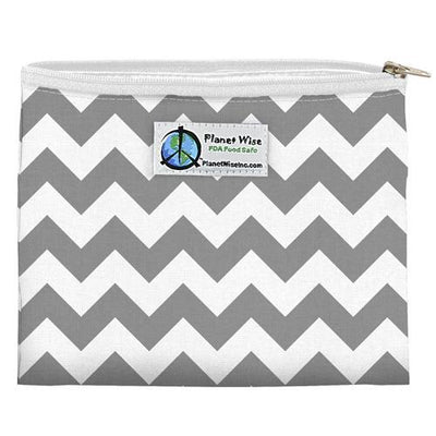 Planet Wise Reusable Zipper Sandwich Bag Feeding Planet Wise Gray Chevron Poly