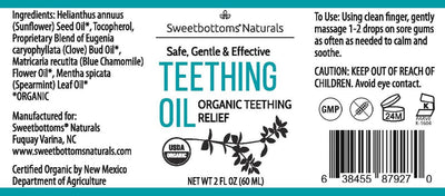 Sweetbottoms Naturals Organic Teething Oil Herbal Remedy Sweetbottoms Naturals