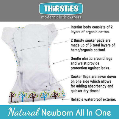 Thirsties Natural Newborn All-In-One Diaper Cloth Diaper Thirsties