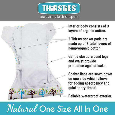Thirsties Natural One-Size All-In-One Diaper Cloth Diaper Thirsties