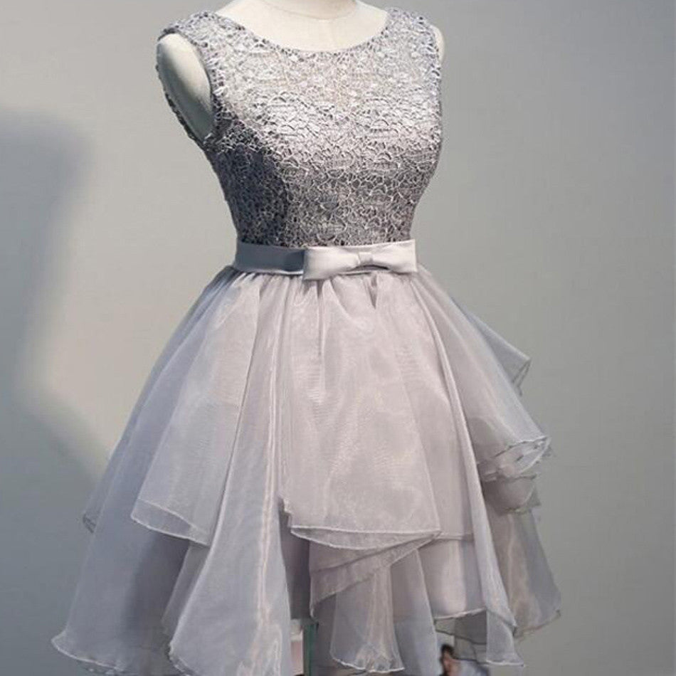 Grey Organza Unique Lace Top Dillards Homecoming Dresses, BG51461