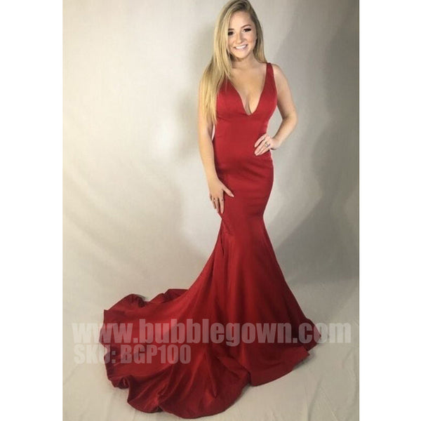 Simple Cheap Mermaid V Neck Sexy Popular Evening Long Prom Dresses, BGP100