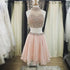 Two Pieces Pink Beaded Halter Lovely Homecoming Dresses, BG51495