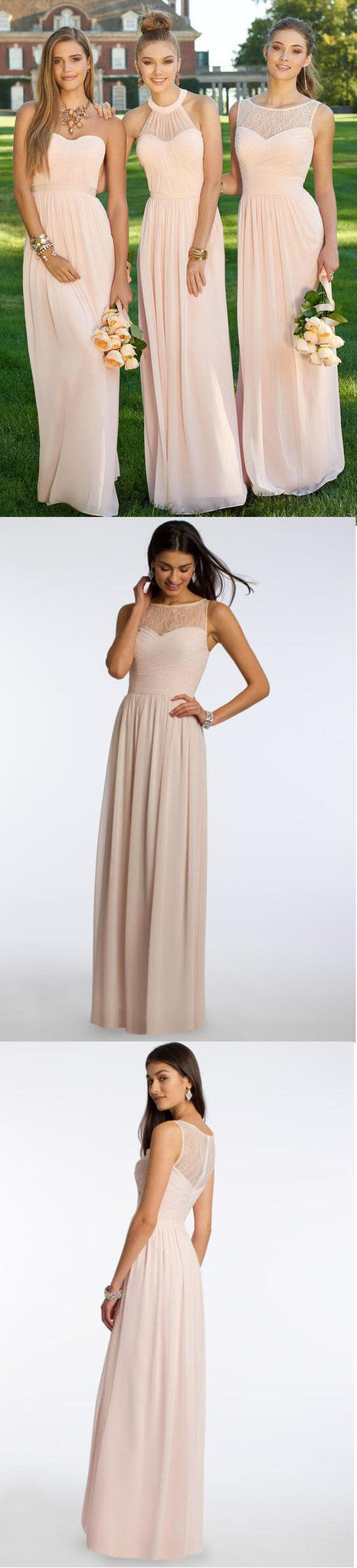 Blush Pink Mismatched Styles Modern Long Cheap Bridesmaid Dresses, BG51310 - Bubble Gown