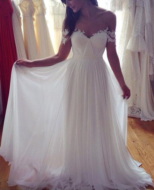 Beach Off Shoulder Lace Appliqued Chiffon Bohemian Wedding Dresses Bridal Gowns, BG51519