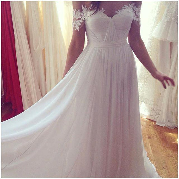 Beach Off Shoulder Lace Appliqued Chiffon Bohemian Wedding Dresses Bridal Gowns, BG51519 - Bubble Gown