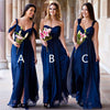 Chiffon Mismatched Royal Blue Cheap Long Wedding Bridesmaid Dresses, BG51313