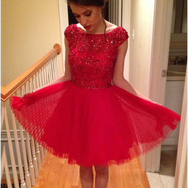 Cute Red Cap Sleeve Beaded Short Homecoming Dresses, BG51419