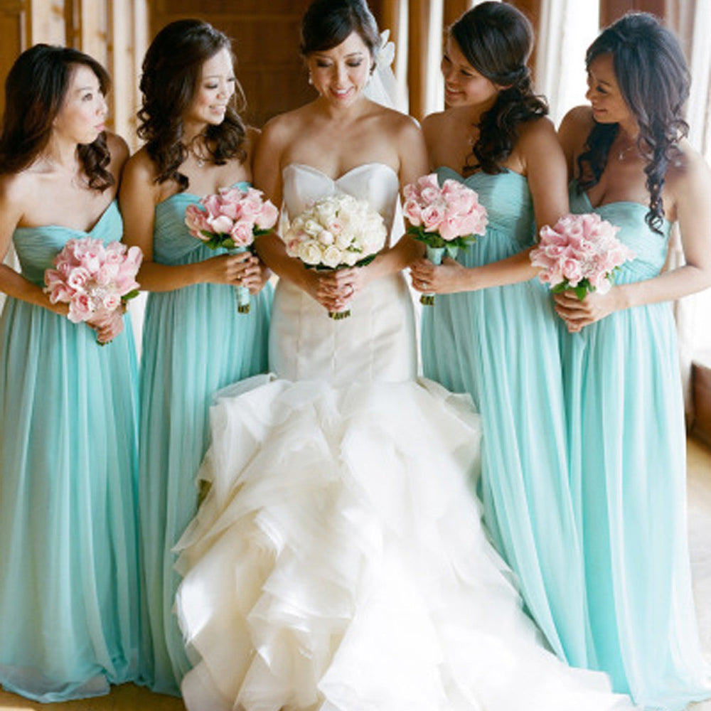 Classic Blue Sweetheart High Waist Line Long Wedding Bridesmaid Dresses, BG51384