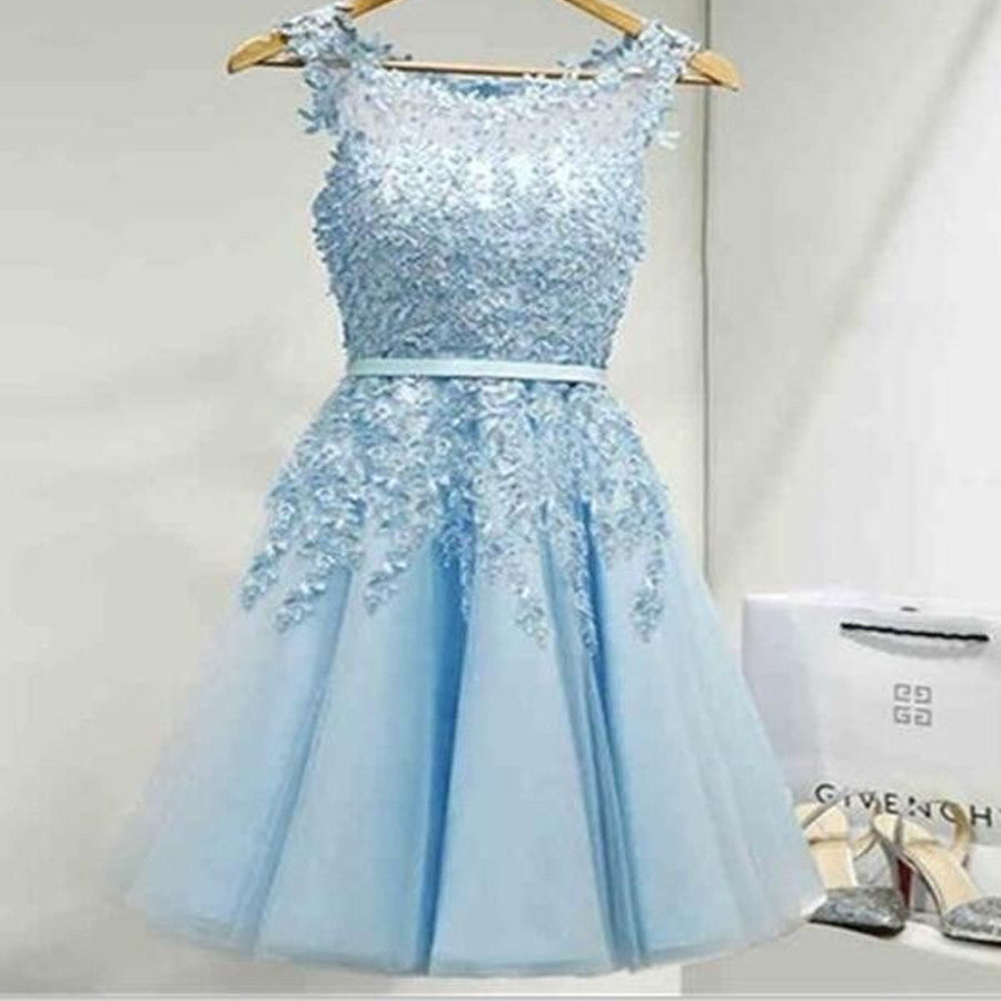 Blue Appliques Lace Lovely Knee Length Cheap Homecoming Dresses, BG51465