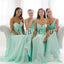 A Line Mismatched Mint Junior Simple Floor-length Bridesmaid Dresses, BG51285 - Bubble Gown