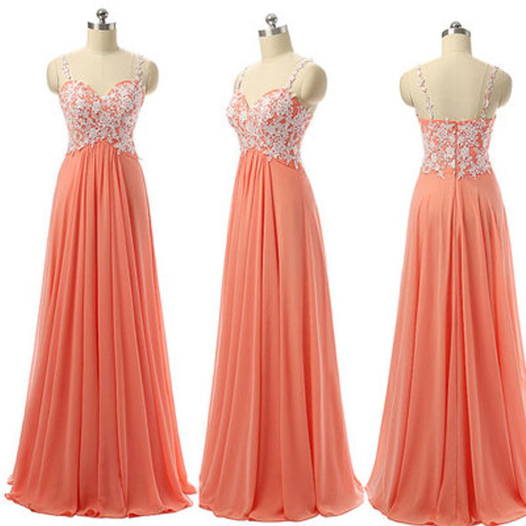 Applique Spaghetti Strap Sweet Heart Long Bridesmaid Dresses, BG51299 - Bubble Gown
