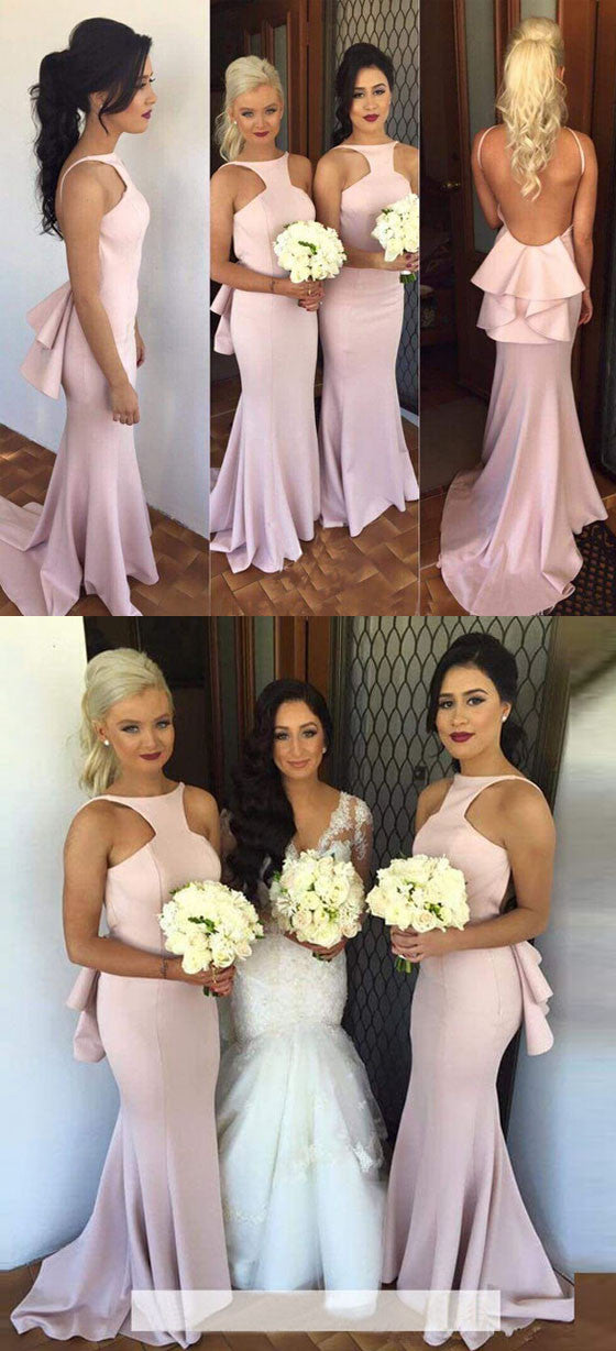 Charming Open Back Sexy Mermaid Long Bridesmaid Dresses, BG51334 - Bubble Gown