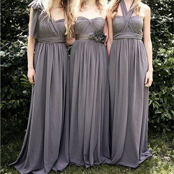Convertible Junior Gray Cheap Long Bridesmaid Dresses for Wedding Party, BG51297