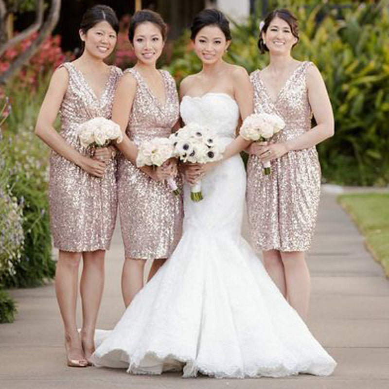 Sequin V-Neck Shinning Knee-Length Cheap Bridesmaid Dresses, BG51364