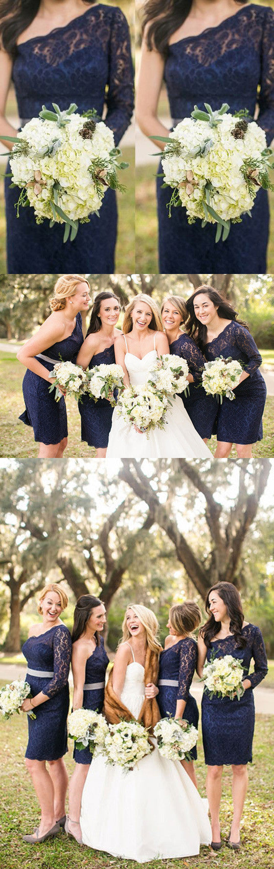 One Shoulder Long Sleeve Lace Navy Blue Short Bridesmaid Dresses, BG51265