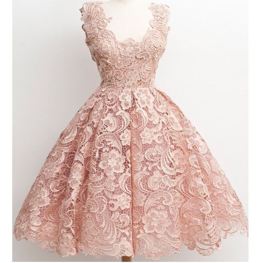 Dusty Pink Lace Vintage Pretty Popular Homecoming Dresses, BG51454