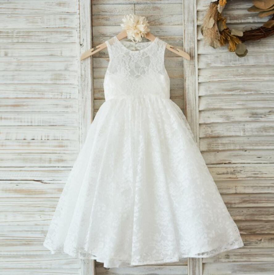 Ivory Cute Lace Flower Girl Dresses, Open Back Little Girl Dresses, FGS013