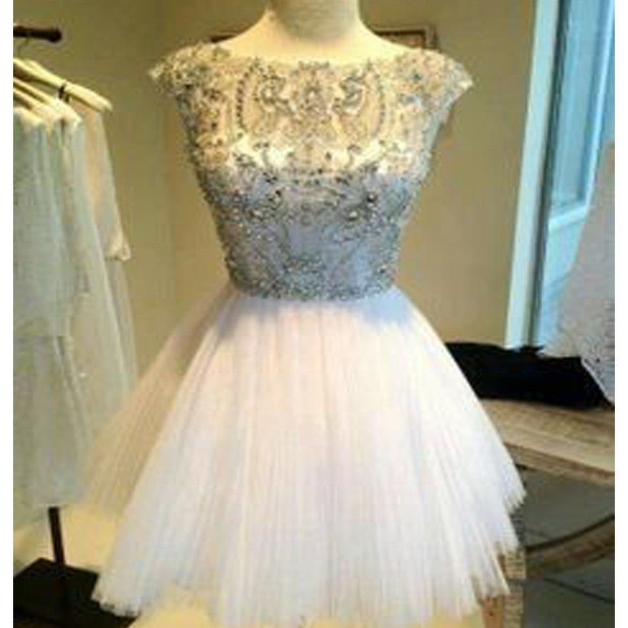 Cap Sleeve Sparkle Beaded Top White Graduation Homecoming Dresses, BG51453