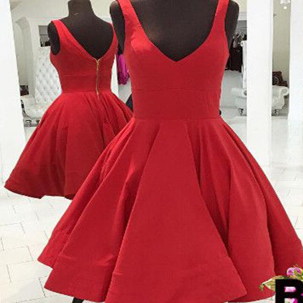 Red Simple V Neck Cheap Homecoming Dresses, BG51450