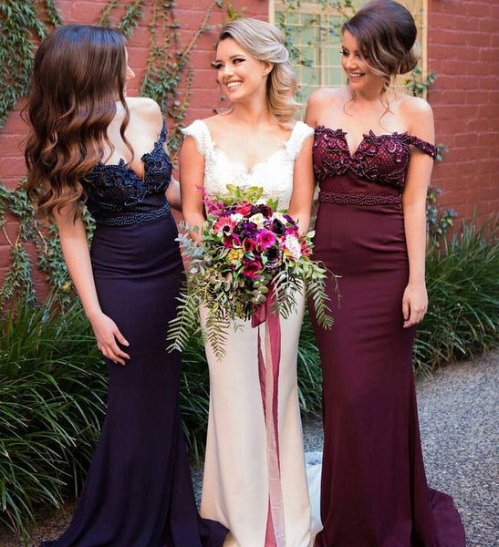 Affordable Burgundy Off Shoulder Mermaid Sexy Long Bridesmaid Dresses, BG51471