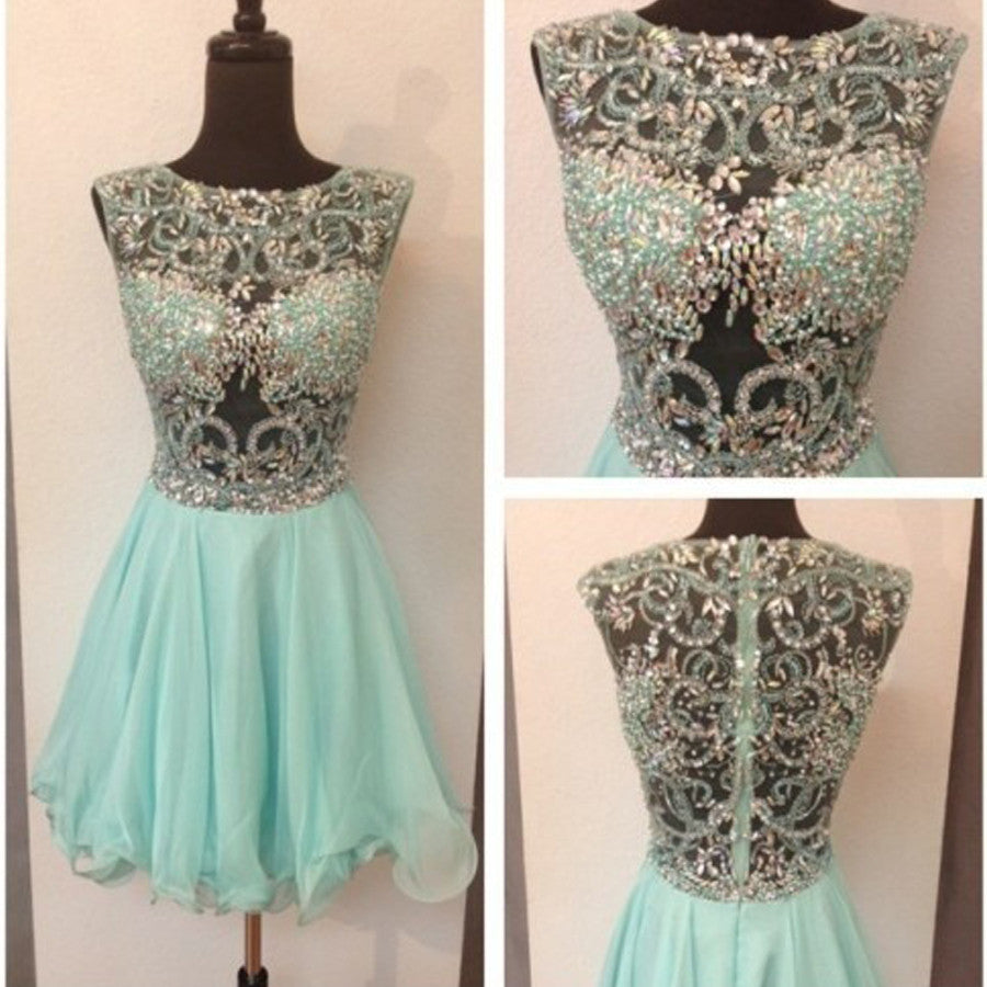 Seen Throug Beaded Top Blue Cute Homecoming Dresses, BG51480