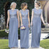 Lace Top Cap Sleeve Cheap Long Bridesmaid Dresses, BG51264 - Bubble Gown